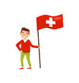 boy holding national flag of switzerland design vector image vector image