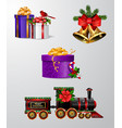 christmas decorations with fir tree golden jingle vector image vector image