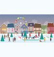 christmas fair winter landscape in city vector image vector image