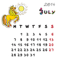 color horse calendar 2014 july vector image vector image