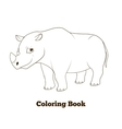 coloring book rhino african animal cartoon vector image vector image