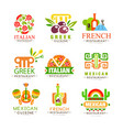 continental cuisine logo design set italian vector image vector image