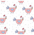 cute cartoon rooster seamless pattern doodle style vector image