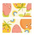cute food design cartoon comic orange peach vector image vector image