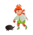 cute smiling girl in autumn clothes give red apple vector image vector image