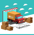 delivery online concept truck and laptop backgroun vector image vector image