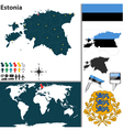 Estonia map world vector image vector image