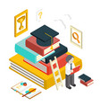 flat 3d web isometric education graduation vector image vector image