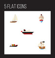 flat icon boat set of yacht vessel cargo and vector image