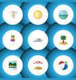 flat icon summer set of coconut ocean reminders vector image vector image