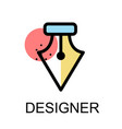 fountain pen nib icon for designer on white vector image vector image