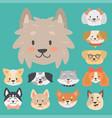 funny cartoon dog character heads bread cartoon vector image vector image