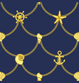 golden chains and sea objects seamless pattern vector image