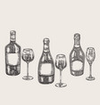hand drawn wine bottles and glasses in sketch vector image