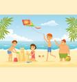 Happy children on the beach - cartoon people