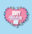 heart shape with flowers and branches leaves vector image vector image