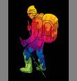hiker climbing mountain hiking cartoon graphic vector image vector image