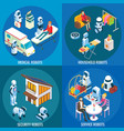 isometric medical home and service robots vector image vector image
