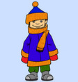 little boy wearing winter clothes vector image vector image