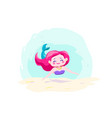 little cute mermaid swimming under water vector image vector image