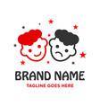 logo two heads children vector image