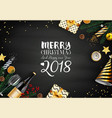 merry christmas 2018 card with black and gold vector image vector image