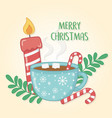 merry christmas card with chocolate cup and candle vector image vector image