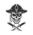 monochrome pirate skull vector image