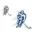 moving hockey player in retro silhouette style for vector image vector image