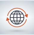 orange arrows around planet earth globe isolated vector image vector image
