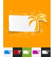 palm paper sticker with hand drawn elements vector image vector image
