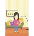 pregnant woman with clothes for baby vector image vector image