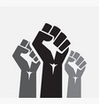 raised five fists set background - isolated vector image vector image