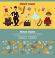 retro cinema and movie theater posters flat design vector image vector image