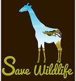 Save wildlife theme with giraffe vector image vector image