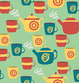 Seamless Pattern for Kitchen Teapots and Cups vector image