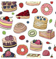 seamless pattern with different cakes and pastry vector image