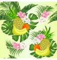 seamless texture pineapple and banana tropical vector image vector image