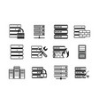 server icon set simple style vector image