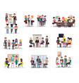 set of business meeting in cartoon style flat vector image vector image