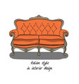 sofa with backrest and armrests in pink and gray vector image vector image