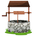 Stone well with rooftop vector image