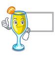 thumbs up with board mimosa character cartoon vector image vector image