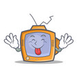 tongue out tv character cartoon object vector image vector image