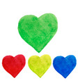watercolor hearts shape splashes green blue vector image