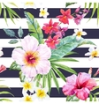 Watercolor tropical floral pattern vector image