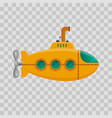 yellow submarine with periscope on transparent vector image vector image