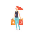 young woman carrying paper bags with healthy food vector image vector image