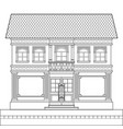 a drawing of a classic brick two-story building vector image vector image