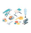 accessories tailor isometric set sewing equipment vector image vector image